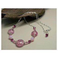 'Raspberry Sorbet' ~ Borosilicate Glass Lampwork, Swarovski Crystal, Sterling Silver Chain Necklace