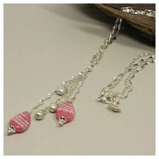Rhodochrosite And Satin Briolette, Sterling Silver Double Chain, Drop  Y-Necklace