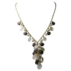 Smoky Quartz, Natural Chalcedony and Cultured Pearl 'Y' Necklace