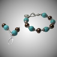 10mm Nevada Turquoise Cultured Freshwater Pearl-Sterling Silver Bracelet