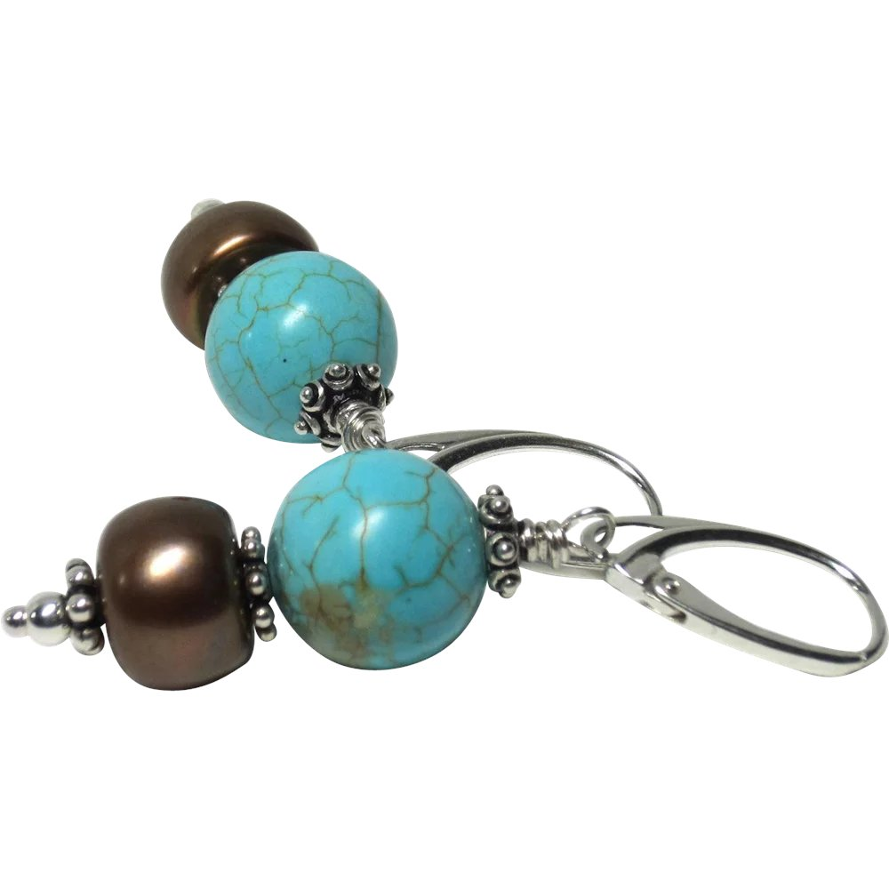 Natural Nevada Turquoise Cultured Freshwater Pearl
