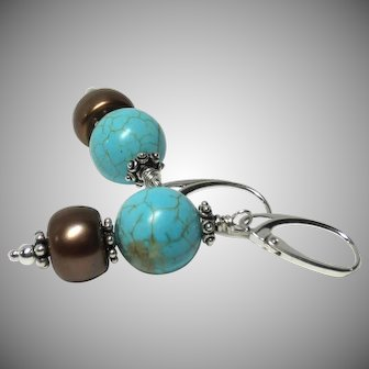 Natural Nevada Turquoise-Cultured Freshwater Pearl Sterling Earrings
