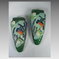 Pair of Art Pottery Wall Pockets with Deco Influence. Made in Japan