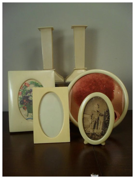 French Ivory Celluloid Picture Frames And Candlesticks Red Tag