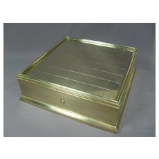 """Brass Writing Box with Inkwell, Candle - 6 1/2"""" Square - Dated 1891"""
