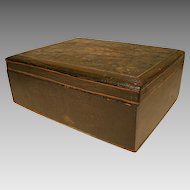Primitive Wooden Writing or Dresser Box with Shell Design