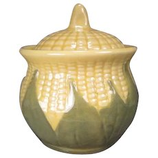 "Shawnee Corn King - Large Sugar Bowl or Drip Jar - 5 1/4"" Tall"