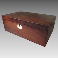 Large Mahogany Writing Box - Slanted Lap Desk - Portable for Travel