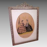 "Cast Gilt Brass Picture Frame with Godey Style French Fashion Print - 9"" by 7"""