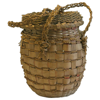 Early and Rare Child-sized Feather Basket