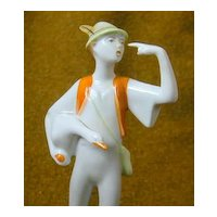 Vintage Figure - Boy with Goose - Hungary - Hollohaza - Free Shipping