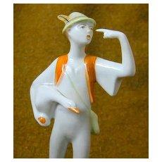 Vintage Figure - Boy with Goose - Hungary - Hollohaza - Free Shipping
