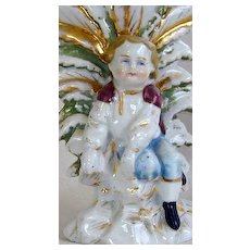 OLD 19th c. Spill Vase with Young Boy - Hand-Painted - FREE Shipping