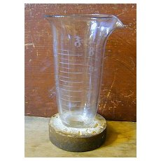 Rare Antique Make-Do - Pharmaceutical Glass Beaker - Advertising!