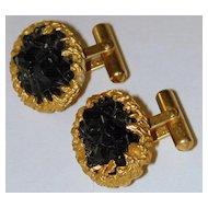 """Gold Nugget"" Gold-tone Vintage Style Cufflinks - Designer-signed ""Destino"""