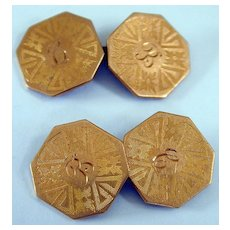 Early 20th c. Gold Tone Etched Cufflinks