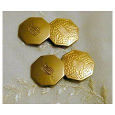 Vintage Octagonal Arts & Crafts Era Cuff Links - Initialed D
