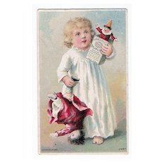 19th century Advertising Card - Little Girl with Her Toys