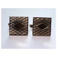 Vintage 1960s Etched Cufflinks – Center Diamond Design