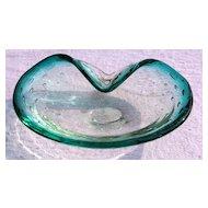 Controlled Bubble Art Glass Bowl, with Vibrant Aquamarine Blue Rim