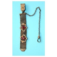 Late 19th c Watch Chain with Jeweled Fob