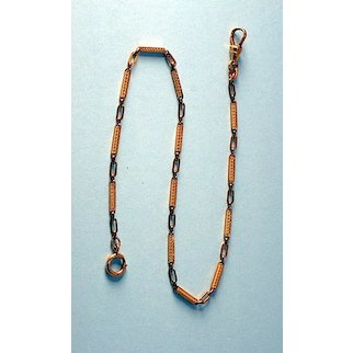 Fine Quality Turn-of-the-Century Watch Chain, Gold Plated