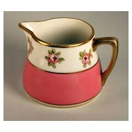 Handpainted Nippon Creamer with Pink Band and Roses