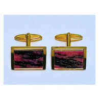 Vintage Impressive Rhodonite Cuff Links