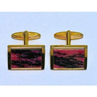 Vintage Impressive Rhodonite Cuff Links