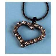 Vintage Rhinestone Sweetheart Heart Necklace