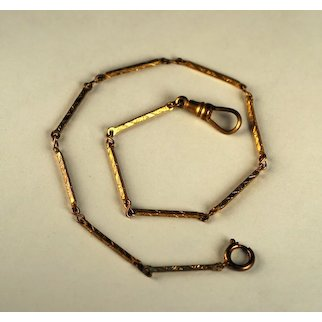 Handsome 19th c Watch Chain with Decorated Links