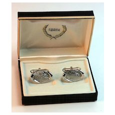 Vintage 1950s Silvertoned Cuff Links in Original Swank Box