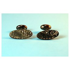 Antique Gold-toned Cuff Links – Handchased Design