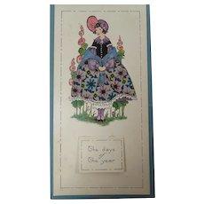 1923 Calendar and Blotter Hoop Skirt Lady Pastel Colors