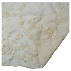 French Silk Bridal Wedding Heirloom Antique Hanky Handkerchief