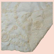 French Silk Bridal Wedding Heirloom Antique Hanky Handkerchief