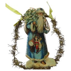 Antique Tinsel Ornament Santa in a Blue Suit