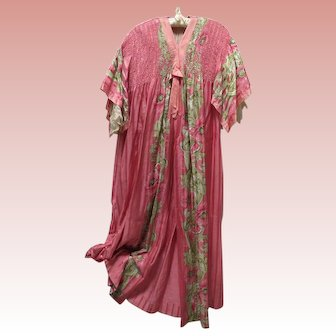 1920s Peignoir Dressing Gown Robe Silk and Lace