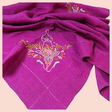 Vibrant Silk Scarf  Edwardian Era Delicate Embroidery