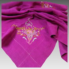 Silk Scarf Victorian Edwardian Era Bold Color Delicate Embroidery