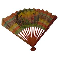 1930s Paper Fan From China Little Child Big Doll