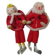 Vintage Christmas Felt Figures Package Ties Tree Ornaments