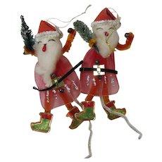 Funky Mid Century Santa Christmas Package Ties