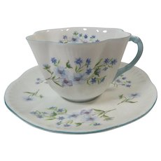 Shelley Bone China Blue Rock 13591 Cup and Saucer