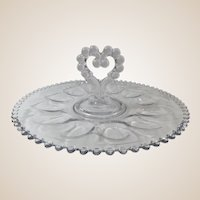 Candlewick Egg Plate Single Heart Shaped Handle Deviled Egg Server Tray