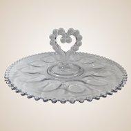 Candlewick Egg Plate Single Heart Shaped Handle Deviled Egg Server Tray