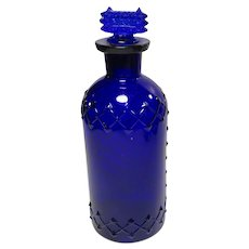 Poison Bottle Cobalt Blue Lattice and Diamond With Stopper