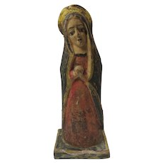 Wooden Mexico Santo Haloed Saint Vintage 9 Inches