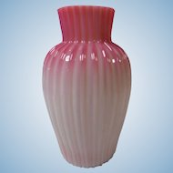 Cased and Ribbed Glass Vase Early 20th Century Art Glass
