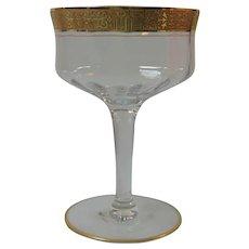 Elegant Champagne Sherbet Gold Etched Rim Stems